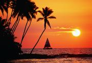 Best Sellers - Waiulua Bay Orange Sunset by Bob Abraham - Printscapes