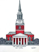 College Buildings Drawings Mixed Media Originals - Wake Forest by Frederic Kohli