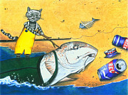 Cans Drawings - Wake up Daddy the Tide is Coming in by Karen Rhodes