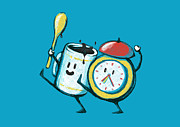 Clock Digital Art Posters - Wake up Wake up Poster by Budi Satria Kwan