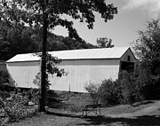 Benches Photos - Walcott Covered Bridge 2bw by Mel Steinhauer