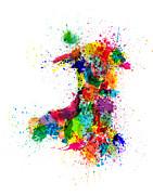 Wales Paint Splashes Map Print by Michael Tompsett
