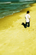 Children Walking Away Posters - Walk by the beach  Poster by Mohamad Itani