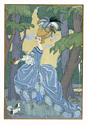 Fan Metal Prints - Walk in the Forest Metal Print by Georges Barbier
