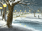 Winter Park Art - Walk in the snow by Veronica Minozzi