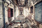 Abandoned Buildings Posters - Walk of Death - Abandoned Asylum Poster by Gary Heller