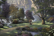 Walk Prints - Walk of Faith Print by Thomas Kinkade