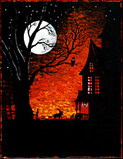 Haunted House Painting Framed Prints - Walk Of The Catwitch Framed Print by Margaryta Yermolayeva