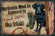 Lodge Painting Prints - Walk the Dog Print by JQ Licensing