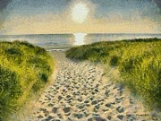 Sunrise Over Water Paintings - Walk to the Beach by Elizabeth Coats