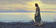 Shore Painting Metal Prints - Walk With Me Metal Print by Greg Olsen