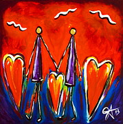 Human Rights Painting Prints - Walk With Me Print by Jackie Carpenter