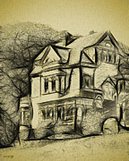 Haunted House Digital Art - Walker-Ames house sketch by Bob Galka