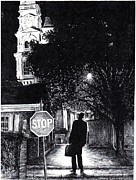 Stop Sign Drawings - Walker In The City by James Oliver