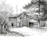Mountain Cabin Drawings Posters - Walker Sisters Farm House Poster by Bob  George