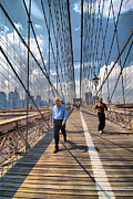 Jogging Metal Prints - Walkers and Joggers on the Brooklyn Bridge Metal Print by Amy Cicconi