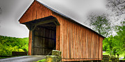 Wooden Structure Framed Prints - Walkersville Covered Bridge HDR Framed Print by Thomas R Fletcher
