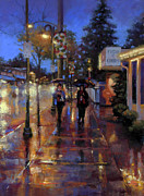 Streets Pastels Metal Prints - Walkin in the Rain Metal Print by Dianna Ponting