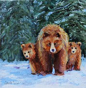 Cubs Painting Originals - Walkin My Babies by Sandra Charlebois