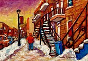 Rue Wellington Framed Prints - Walking Along Wellington Street Verdun Winter Painting Montreal City Scene By Carole Spandau Framed Print by Carole Spandau