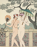 Garden Scene Drawings Prints - Walking Around Naked As Much As We Can Print by Joseph Kuhn-Regnier
