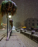 Streetlight Posters - Walking Around Reno On A Snowy Night Poster by Marc Crumpler