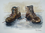 Boots Mixed Media Framed Prints - Walking Boots Framed Print by Helen J Pearson