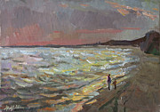 Azov Paintings - Walking by the sea by Juliya Zhukova