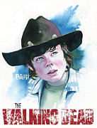 Walking Painting Framed Prints - Walking Dead Carl Framed Print by Ken Meyer jr