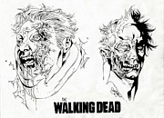 Horror Movies Drawings Framed Prints - Walking Dead Collection 3 Framed Print by Ariana Bannister