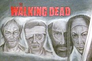 Horror Pastels Framed Prints - Walking Dead Framed Print by Daniel Destefano