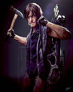 The Walking Dead Prints - Walking Dead - Daryl Dixon Print by Paul Tagliamonte