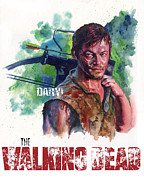 Walking Dead Paintings - Walking Dead Daryl by Ken Meyer jr