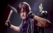 Walking Dead Paintings - Walking Dead - Daryl by Paul Tagliamonte