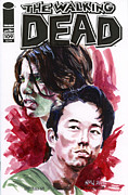 Television Paintings - Walking Dead Glenn and Maggie by Ken Meyer jr