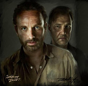 Enemies Digital Art Prints - Walking Dead Print by Mark Gallegos