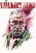 Walking Dead Posters - Walking Dead Merle Poster by Ken Meyer jr