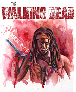 Television Paintings - Walking Dead Michonne by Ken Meyer jr