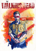 Horror Metal Prints - Walking Dead Rick Metal Print by Ken Meyer jr