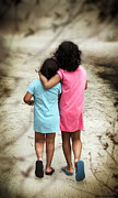 Sisters Photo Framed Prints - Walking Girls Framed Print by Carlos Caetano