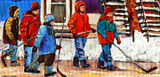 Winter Scenes Drawings Metal Prints - Walking Home After The Hockey Game Art Of Montreal Verdun  Winter City Scenes By Carole Spandau Metal Print by Carole Spandau