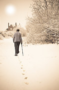 Old Person Prints - Walking Home Print by Christopher and Amanda Elwell