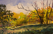 Janet Felts Painting Metal Prints - Walking in Montgomery Bell Park. Metal Print by Janet Felts