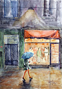Night Lamp Paintings - Walking in the Rain by Faruk Koksal