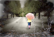 Umbrellas Digital Art - Walking In The Rain by Lynda Payton