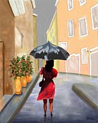 Zelma Hensel Posters - Walking in the Rain Poster by Zelma Hensel