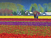 Skagit Digital Art - Walking in The Tulip Field by John Parks