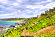 Cornwall Digital Art Prints - Walking Into Sennen Cove On The Cornish Coast Print by Mark E Tisdale