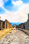 Roman Streets Posters - Walking Into The Past - Streets of Pompeii Poster by Mark E Tisdale
