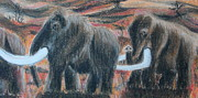 Novel Pastels - Walking Mammoths  by Elke Wessel